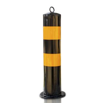 反光警示柱红白道口柱 钢管警示柱 隔离桩 路桩 铁立柱防撞柱50cm加厚黄黑警示柱